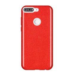 Wozinsky Glitter telefon tok hátlap tok Fényes Cover Huawei Y7 Prime 2018 piros