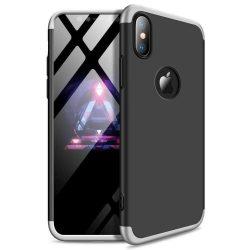 GKK 360 Protection telefon tok hátlap tok Első és hátsó tok telefon tok hátlap az egész testet fedő iPhone XR fekete-ezüst (logo lyuk)