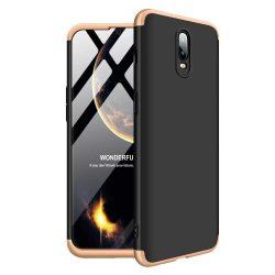 GKK 360 Protection telefon tok hátlap tok Első és hátsó tok telefon tok hátlap az egész testet fedő OnePlus 6T fekete-arany