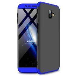 GKK 360 Protection telefon tok hátlap tok Első és hátsó tok telefon tok hátlap az egész testet fedő Samsung Galaxy J6 Plus 2018 J610 fekete-kék