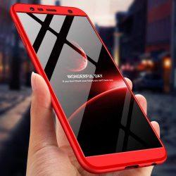 GKK 360 Protection telefon tok hátlap tok Első és hátsó tok telefon tok hátlap az egész testet fedő Samsung Galaxy J6 Plus 2018 J610 piros