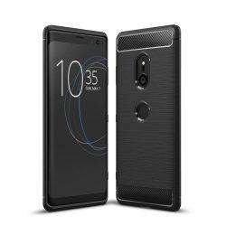 Carbon telefon tok hátlap tok rugalmas Cover TPU tok telefon tok hátlap Sony Xperia XZ3 fekete