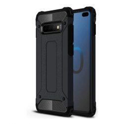 Hibrid Armor telefon tok hátlap tok Ütésálló Robusztus Cover Samsung Galaxy S10 Plus fekete