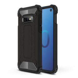 Hibrid Armor telefon tok hátlap tok Ütésálló Robusztus Cover Samsung Galaxy S10e fekete