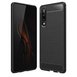 Carbon telefon tok telefontok (hátlap) rugalmas Cover TPU Huawei P30 fekete