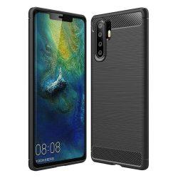 Carbon telefon tok hátlap tok rugalmas Cover TPU tok telefon tok hátlap Huawei P30 Pro fekete
