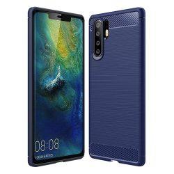 Carbon telefon tok hátlap tok rugalmas Cover TPU tok telefon tok hátlap Huawei P30 Pro kék