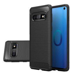 Carbon telefon tok telefontok rugalmas Cover TPU Samsung Galaxy S10 fekete