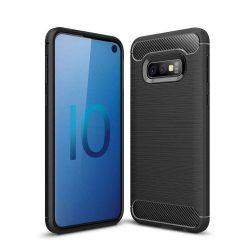 Carbon telefon tok telefontok rugalmas Cover TPU Samsung Galaxy S10e fekete