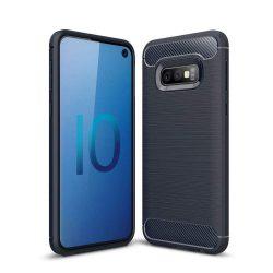 Carbon telefon tok hátlap tok rugalmas Cover TPU tok telefon tok hátlap Samsung Galaxy S10e kék