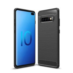 Carbon telefon tok telefontok (hátlap) rugalmas Cover TPU Samsung Galaxy S10 Plus fekete