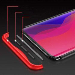 GKK 360 Protection telefon tok hátlap tok Első és hátsó tok telefon tok hátlap az egész testet fedő Oppo Find X piros