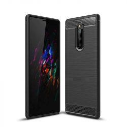 Carbon telefon tok telefontok rugalmas Cover TPU Sony Xperia 1 fekete