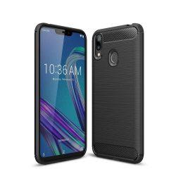 Carbon telefon tok hátlap tok rugalmas Cover TPU tok telefon tok hátlap Asus Zenfone Max Pro M2 ZB631KL fekete