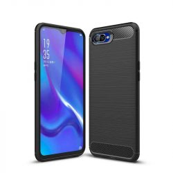 Carbon telefon tok hátlap tok rugalmas Cover TPU tok telefon tok hátlap Oppo RX17 Neo fekete