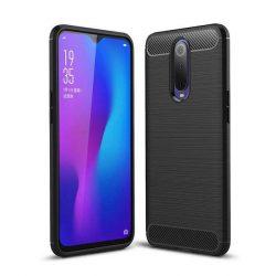 Carbon telefon tok telefontok rugalmas Cover TPU Oppo RX17 Pro fekete