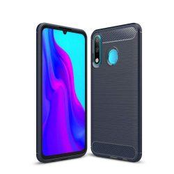 Carbon telefon tok hátlap tok rugalmas Cover TPU tok telefon tok hátlap Huawei P30 Lite blue
