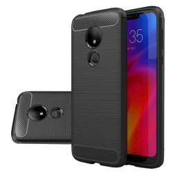 Carbon telefon tok hátlap tok rugalmas Cover TPU tok telefon tok hátlap Motorola G7 Power fekete