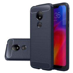 Carbon telefon tok hátlap tok rugalmas Cover TPU tok telefon tok hátlap Motorola G7 Power kék