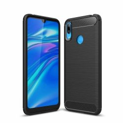 Carbon Case rugalmas Cover TPU tok Huawei Y6 2019 fekete telefon tok telefontok