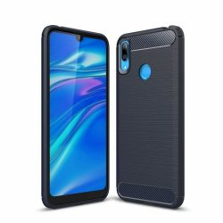 Carbon Case rugalmas Cover TPU tok Huawei Y6 2019 kék telefon tok telefontok
