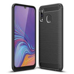 Carbon telefon tok telefontok rugalmas Cover TPU Samsung Galaxy A30 fekete