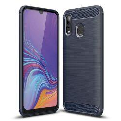 Carbon telefon tok telefontok rugalmas Cover TPU Samsung Galaxy A30 kék