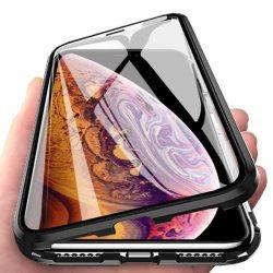 Wozinsky Teljes Mágneses telefon tok hátlap tok Full Body Első és hátsó borító + edzett üveg iPhone XS / X fekete-áttetsző kijelzőfólia üvegfólia tempered glass