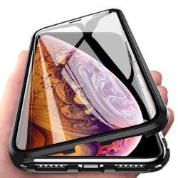 Wozinsky Teljes Mágneses telefon tok hátlap tok Full Body Első és hátsó borító + edzett üveg iPhone XR fekete-áttetsző kijelzőfólia üvegfólia tempered glass