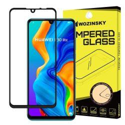 Wozinsky edzett üveg Teljes Glue Super Tough képernyővédő fólia Teljes Coveraged kerettel telefon tok hátlap tok barát Huawei P30 Lite fekete kijelzőfólia üvegfólia tempered glass