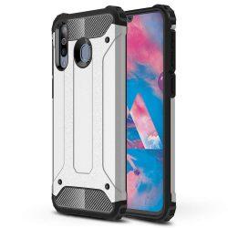 Hibrid Armor telefon tok hátlap tok Ütésálló Robusztus Cover Samsung Galaxy M30 ezüst
