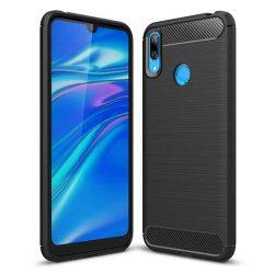 Carbon telefon tok telefontok rugalmas Cover TPU Huawei Y7 2019 / Y7 Prime 2019 fekete