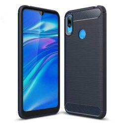 Carbon telefon tok telefontok rugalmas Cover TPU Huawei Y7 2019 / Y7 Prime 2019 kék