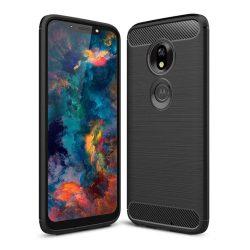 Carbon telefon tok hátlap tok rugalmas Cover TPU tok telefon tok hátlap Motorola G7 Playfekete