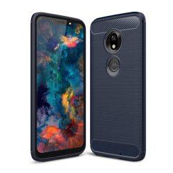 Carbon telefon tok hátlap tok rugalmas Cover TPU tok telefon tok hátlap Motorola Motorola G7 Play kék