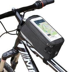 Wozinsky kerékpár első tároló táska kerékpár vázra Phone Case 6,5 hüvelykes max 1L fekete (WBB6BK)