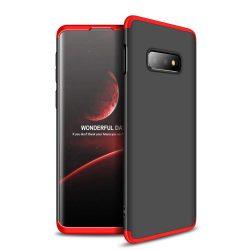 GKK 360 Protection telefon tok telefontok Első és hátsó az egész testet fedő Samsung Galaxy S10e fekete-piros