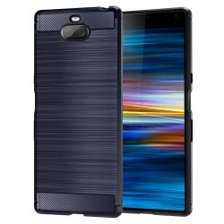 Carbon telefon tok hátlap tok rugalmas Cover TPU tok telefon tok hátlap Sony Xperia XA3 kék