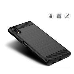 Carbon telefon tok hátlap tok rugalmas Cover TPU tok telefon tok hátlap Sony Xperia L3 fekete
