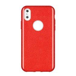 Wozinsky Glitter telefon tok hátlap tok Shining Cover Huawei Y7 2019 / Y7 Prime 2019 piros