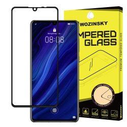 Wozinsky edzett üveg FullGlue Super Tough képernyővédő fólia Teljes Coveraged kerettel telefon tok telefontok barát Huawei P30 fekete kijelzőfólia üvegfólia tempered glass