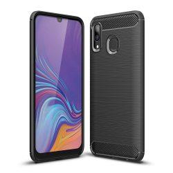Carbon Case rugalmas Cover TPU tok Samsung Galaxy A40 fekete tok telefon tok hátlap