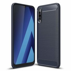 Carbon Case rugalmas Cover TPU tok Samsung Galaxy A70 kék telefon tok telefontok (hátlap)