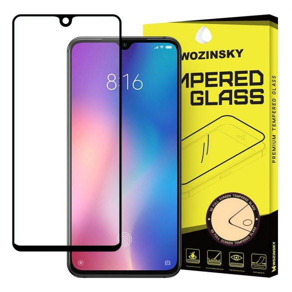 Wozinsky edzett üveg FullGlue Super Tough képernyővédő fólia Teljes Képernyős kerettel Case barátságos Xiaomi Mi 9 SE fekete kijelzőfólia üvegfólia tempered glass