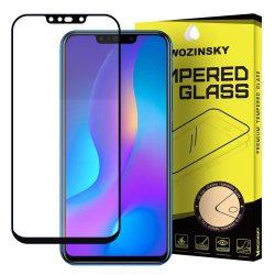Wozinsky edzett üveg Teljes Glue Super Tough képernyővédő fólia Teljes Coveraged kerettel telefon tok hátlap tok barát Huawei P smart Plus 2019 fekete kijelzőfólia üvegfólia tempered glass
