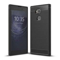 Carbon telefon tok hátlap tok rugalmas Cover TPU tok telefon tok hátlap Sony Xperia XA2 Plus fekete