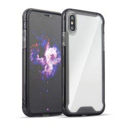 Átlátszó Armor PC tok telefon tok hátlap TPU bumper Samsung Galaxy A7 2018 A750 fekete