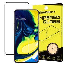 Wozinsky edzett üveg Teljes Glue Super Tough képernyővédő fólia Teljes Coveraged kerettel telefon tok hátlap tok-barát Samsung Galaxy A80 fekete kijelzőfólia üvegfólia tempered glass