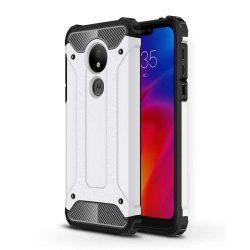 Hibrid Armor telefon tok hátlap tok Ütésálló Robusztus Cover Motorola G7 Power ezüst