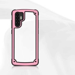 Solid Frame PC tok telefon tok hátlap TPU bumper Huawei P30 Pro rózsaszín